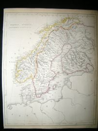 Becker C1840 Antique Map. Norway, Sweden, Denmark, Finland